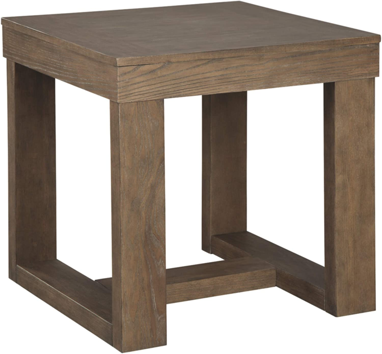Signature Design by Ashley - Cariton Square End Table, Grayish Brown Wood