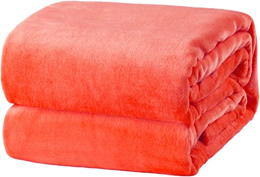 Soft/&Cosy Coral Fleece Blanket Throw Bedspread in Following Solid Colours: Black