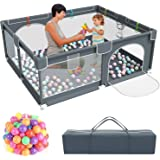 Baby Playpen,Kids Large Playard with 50PCS Pit Balls,Indoor & Outdoor Kids Activity Center,Infant Safety Gates with Breathabl