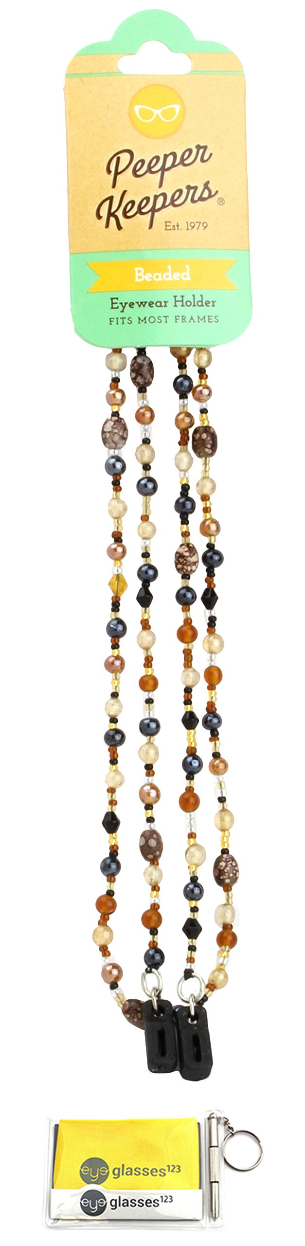 Eyeglass Retainer & Sunglass Holder By Peeper Keepers Glass Beads, Brown Marble, 1pk | w/Microfiber Cloth & Screwdriver