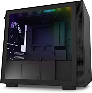 NZXT H210i - CA-H210i-B1 - Mini-ITX PC Gaming Case - Front I/O USB Type-C Port - Tempered Glass Side Panel Cable Management - Water-Cooling Ready - Integrated RGB Lighting - Black