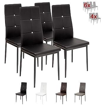 Amazing albatros diamond set di sedie da pranzo nero sgs for Sedie nere ecopelle