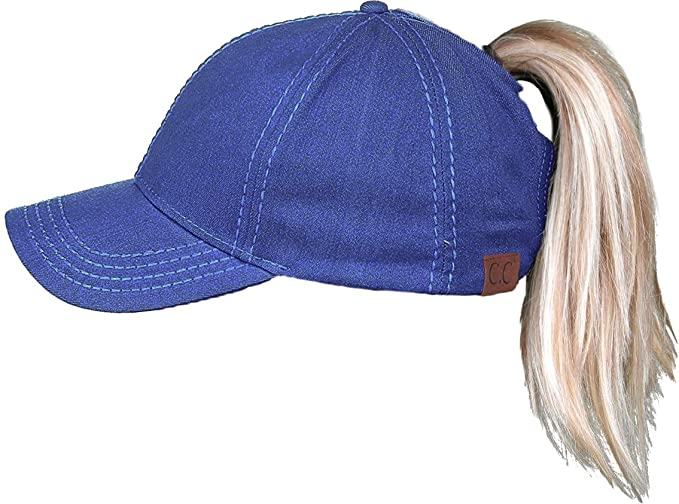 789b720468cb6 Funky Junque Women s Baseball Cap C.C High Ponytail Messy Bun Denim Adjustable  Hat