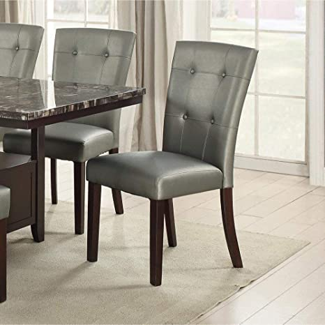 Set of 2 Silver Faux Leather Upholstered Dining Chairs with Button Tufted  Back
