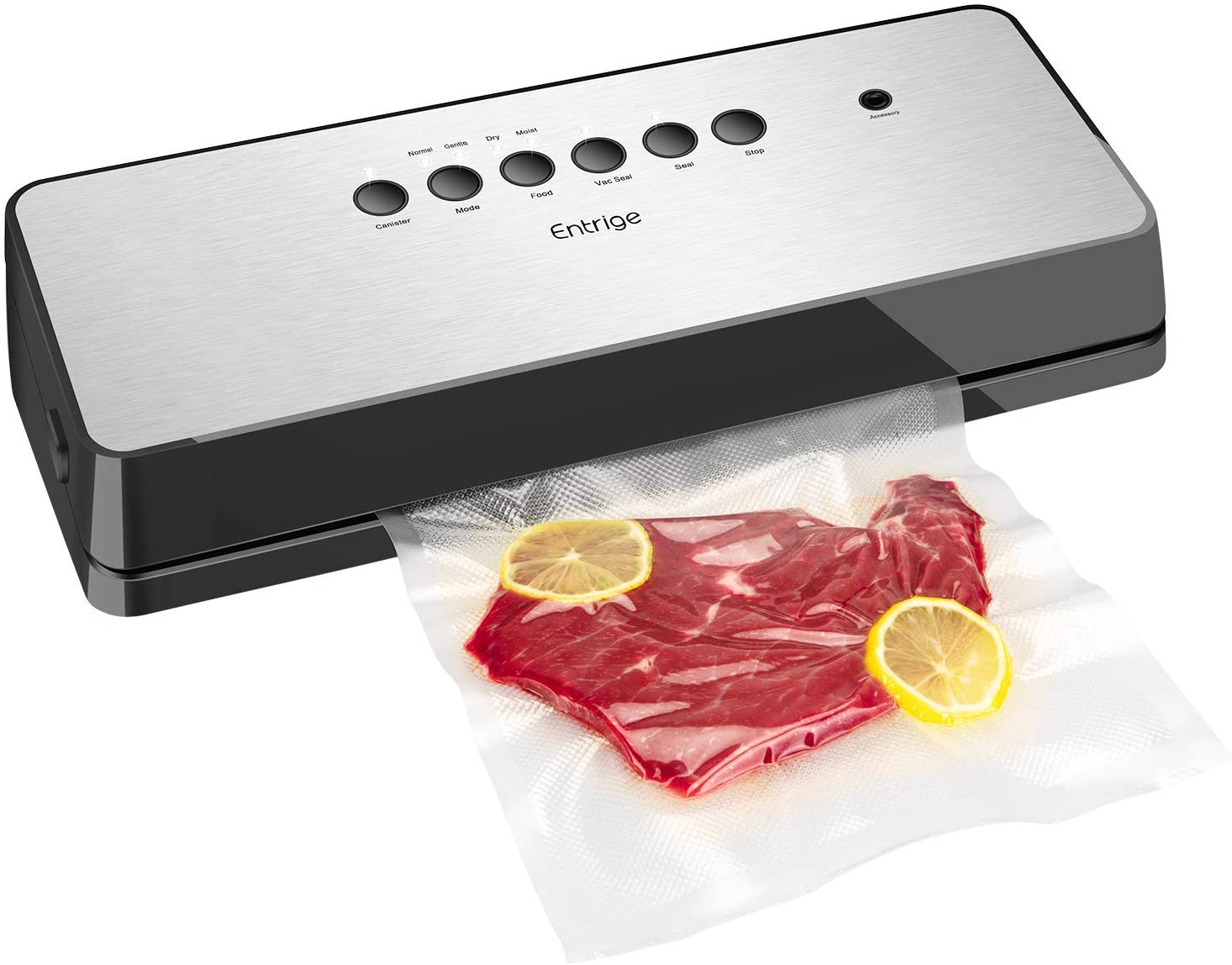 Entrige Vacuum Sealer Machine, Automatic Food Sealer for Food Savers w/Starter Kit, Dry Moist Food Modes, Easy to Clean, Led Indicator Lights, Compact Design, Silver(Stainless Steel)