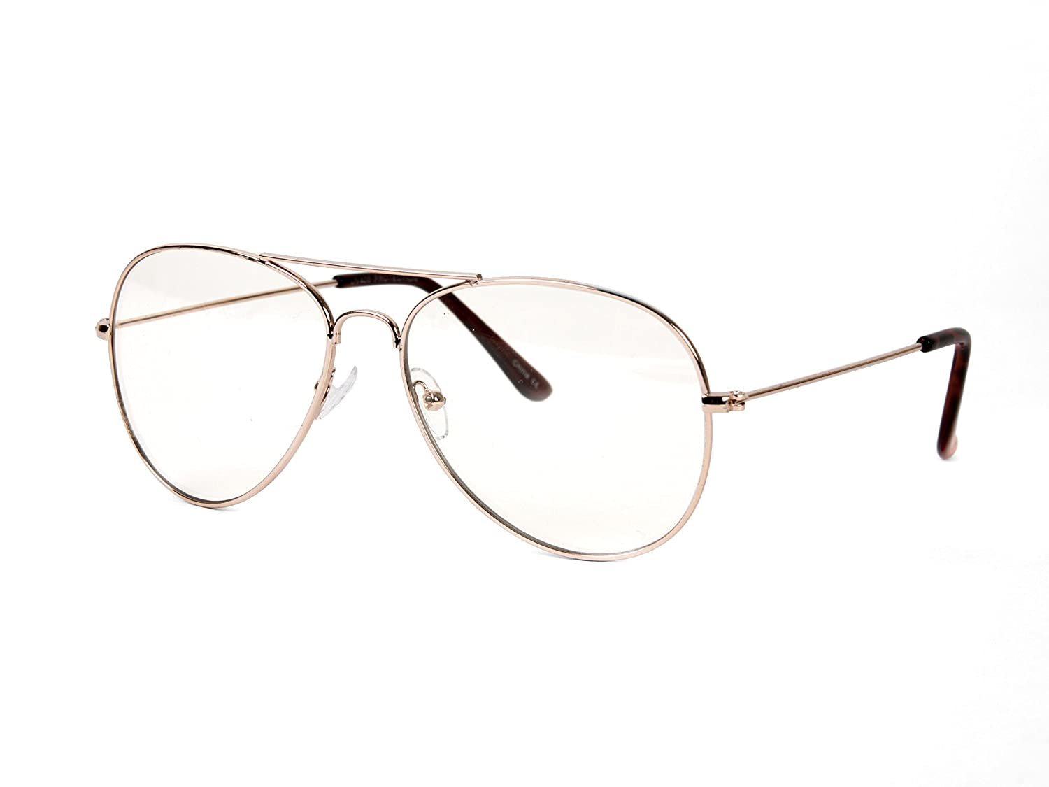 63f9beef0a grinderPUNCH New Non-Prescription Premium Aviator Clear Lens Glasses Gold   Amazon.ca  Sports   Outdoors