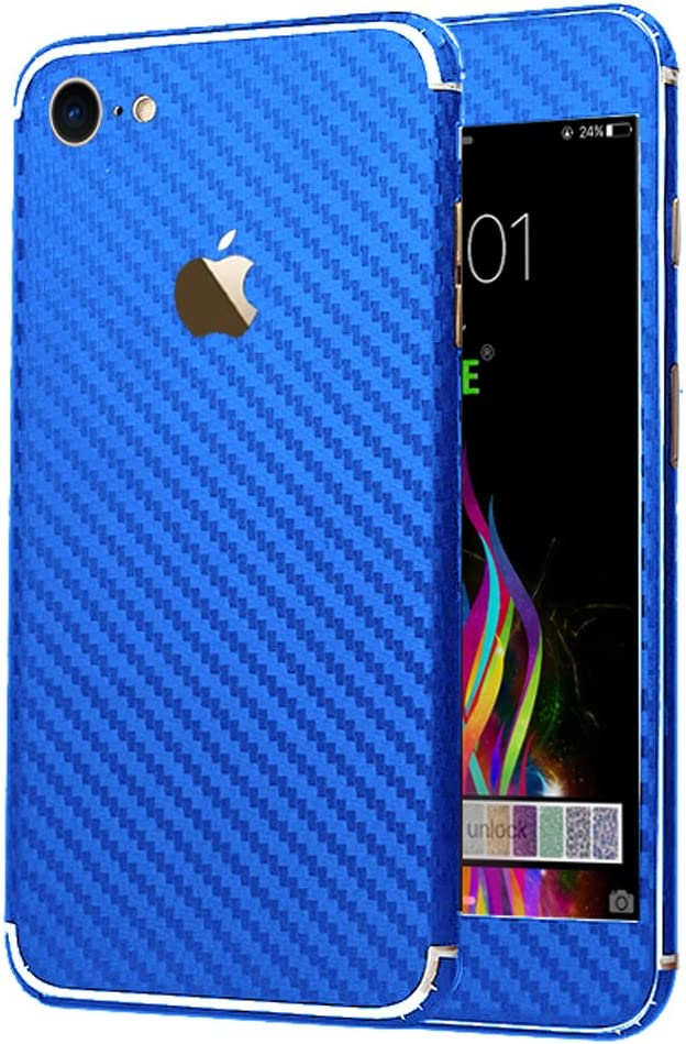 iPhone 7 Sticker, Toeoe Luxury 3D Textured Carbon Fibre Decal Skin with a Clear Case for iPhone 7 Blue