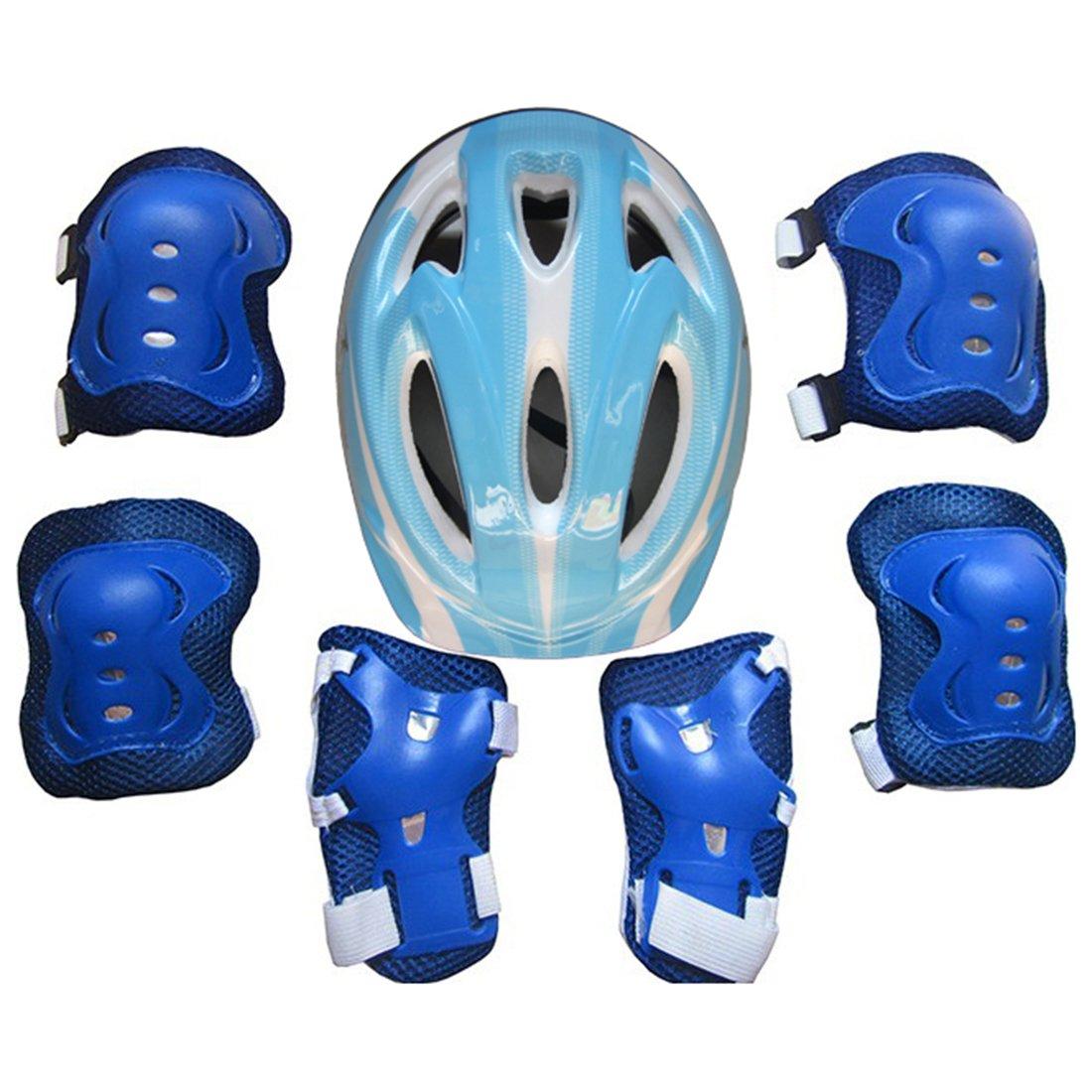 ivansa Juego de Niños 7–Juego de protectores Casco Rodilleras Coderas–Muñequeras Set de protección para niños de 5–12años, color b, tamaño 5-12