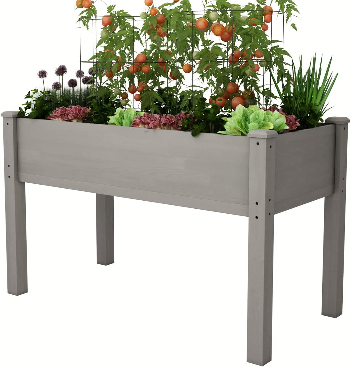 "AMZFINE Heavy Duty Wooden Raised Garden Bed Kit, Solid Wood Elevated Planter Box -48"" L x 24"" W x 30"" H, Grey"