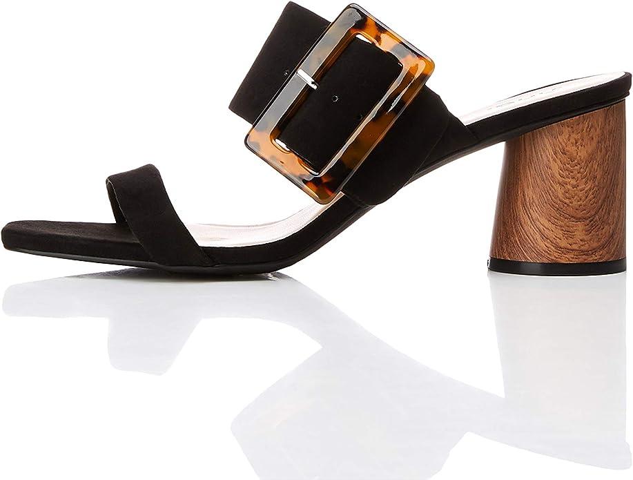 Sandalia negra mujer punta abierta