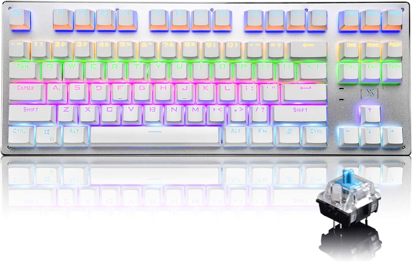 Bluetooth Mechanical Gaming Keyboard with Multi Backlit 87 Anti-Ghost Key Ergonomic Metal Plate Wired/Wireless USB Receiver Rechargeable 3300mAh Battery for PC Mac Gamer (White Rainbow/Blue Switch)