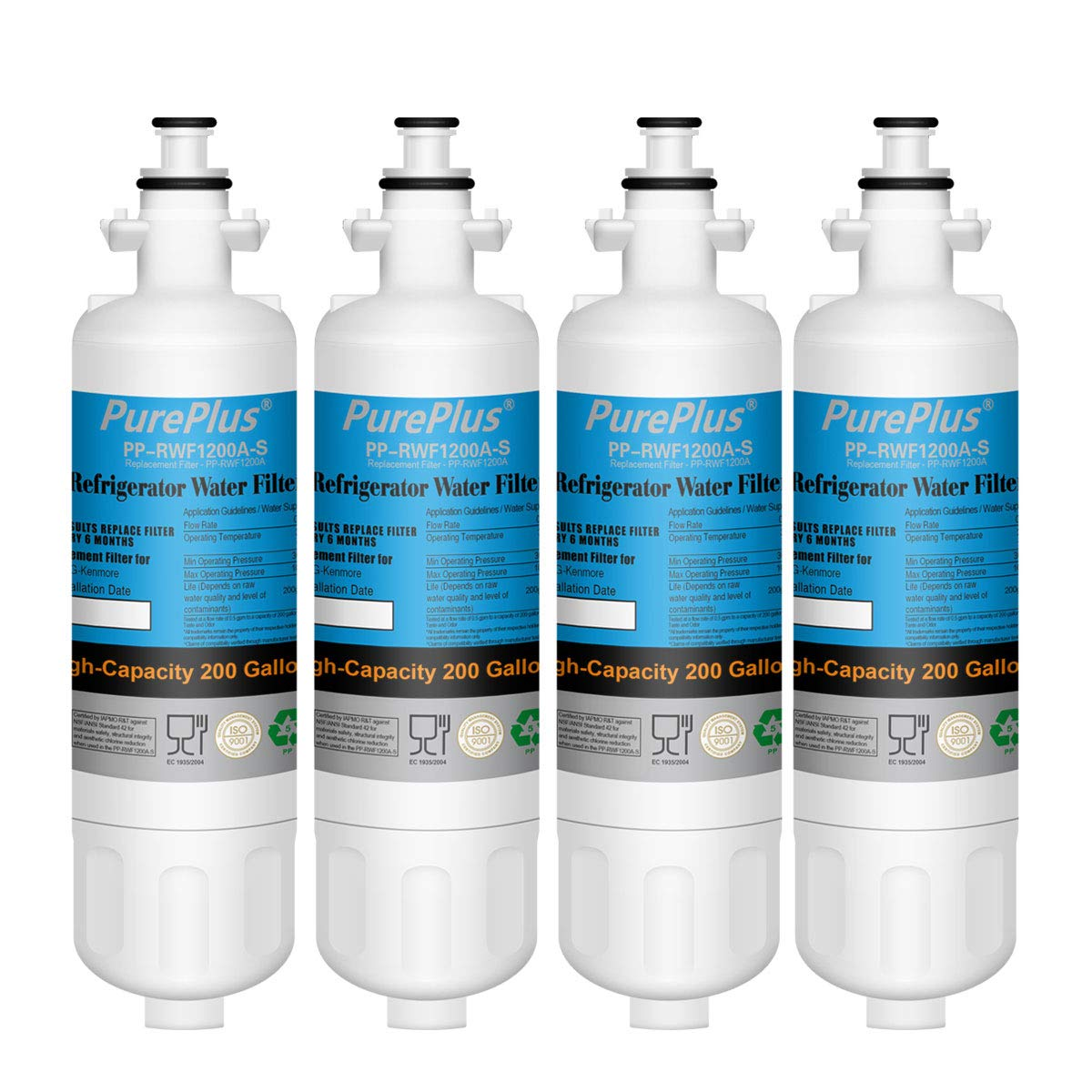 PurePlus Refrigerator Water Filter, Compatible with LG LT700P, Kenmore 9690, 46-9690, ADQ36006101, ADQ36006102 (Pack of 4)