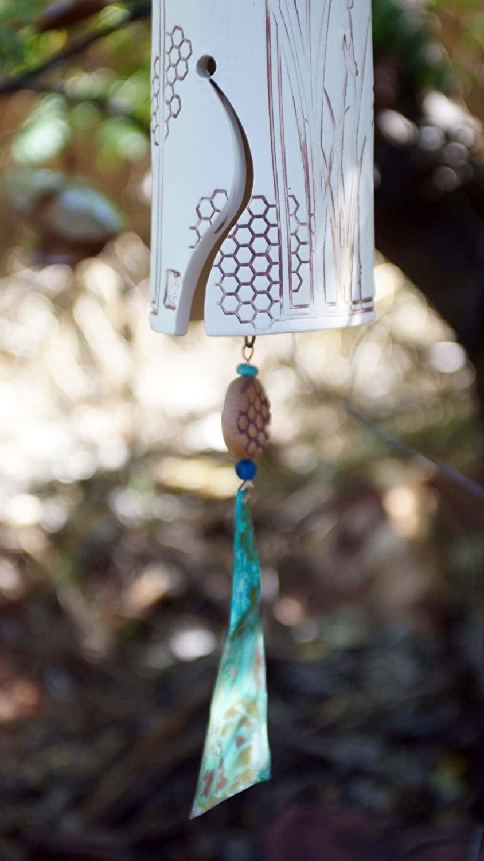Anniversary Gift Handmade Garden Bell 9th Anniversary Gift Idea Pottery Barn Style Bluebird of Happiness Love Ceramic Windchime Best Selling Anniversary Gifts