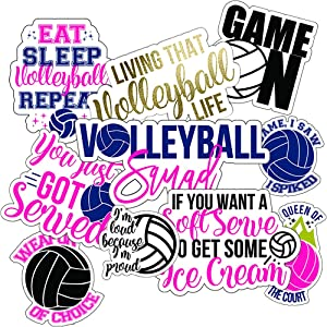 Volleyball Stickers (10 Pack), Perfect Choice for Motivational Volleyball Water Bottle Stickers, Anywhere You Need Volleyball Decals or Laptop Stickers, Waterproof Durable 100% Vinyl