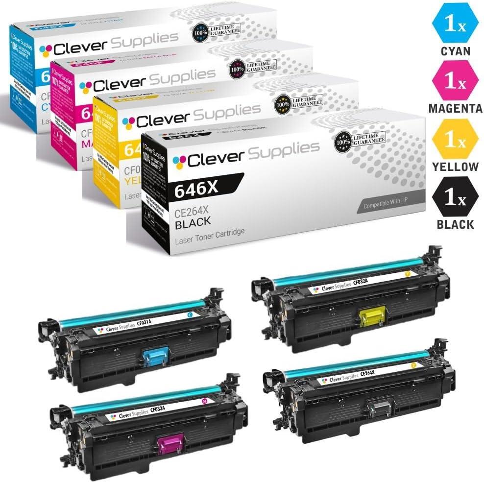 CS Compatible Toner Cartridge Replacement for HP Enterprise CM4540f MFP CE264X Black CF031A Cyan CF032A Yellow CF033A Magenta HP 646A /& HP 646X Color Laserjet Enterprise CM4540f MFP 4 Color Set