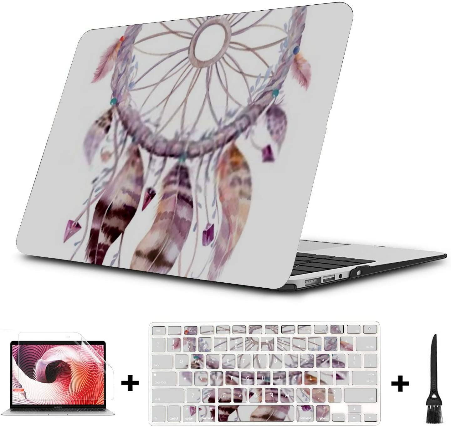 MacBook Pro Case Isolated Watercolor Decoration Bohemian Dreamcatcher Boho MacBook Air 13 A1369//A1466 Plastic Case Keyboard Cover /& Screen Protector
