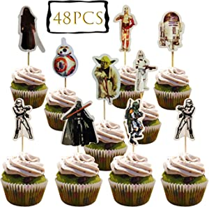 48PCS star wars cupcake Topper Decorative Supplies Cupcake Toppers Cake Picks Decorations for Kids Birthday, Star Wars Theme Party