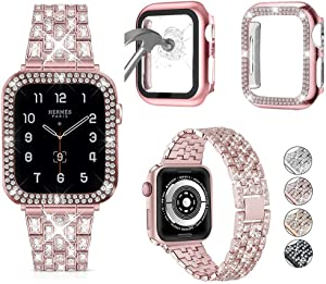 JOHIPI Compatible with Apple Watch Band 38mm 40mm 42mm 44mm with + Case, Bling Diamond Metal Strap with Diamond Case and Glass Screen Protector Cover For iWatch Series 6 5 4 3 2 1 SE (Rose Pink, 38mm)
