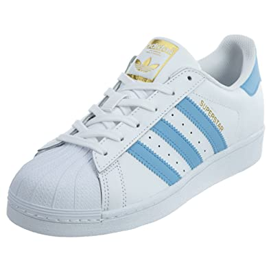 adidas Youth Superstar Foundation White Blue Leather Trainers 6.5 US