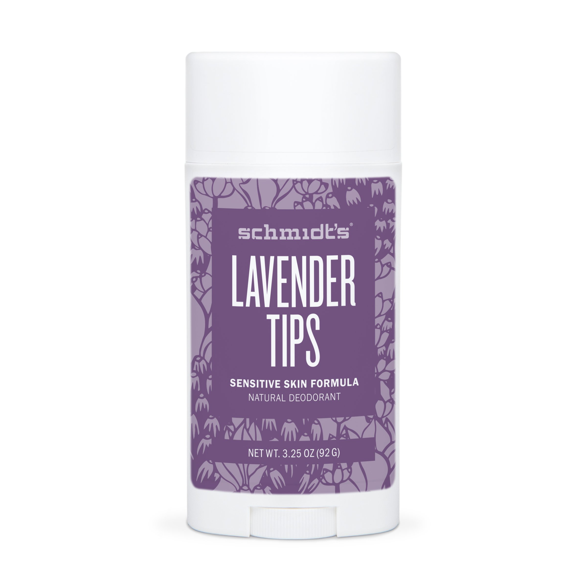 Schmidt's Natural Deodorant - Lavender Tips 3.25 Oz Sensitive Skin Stick; Aluminum-Free Odor Protection & Wetness Relief