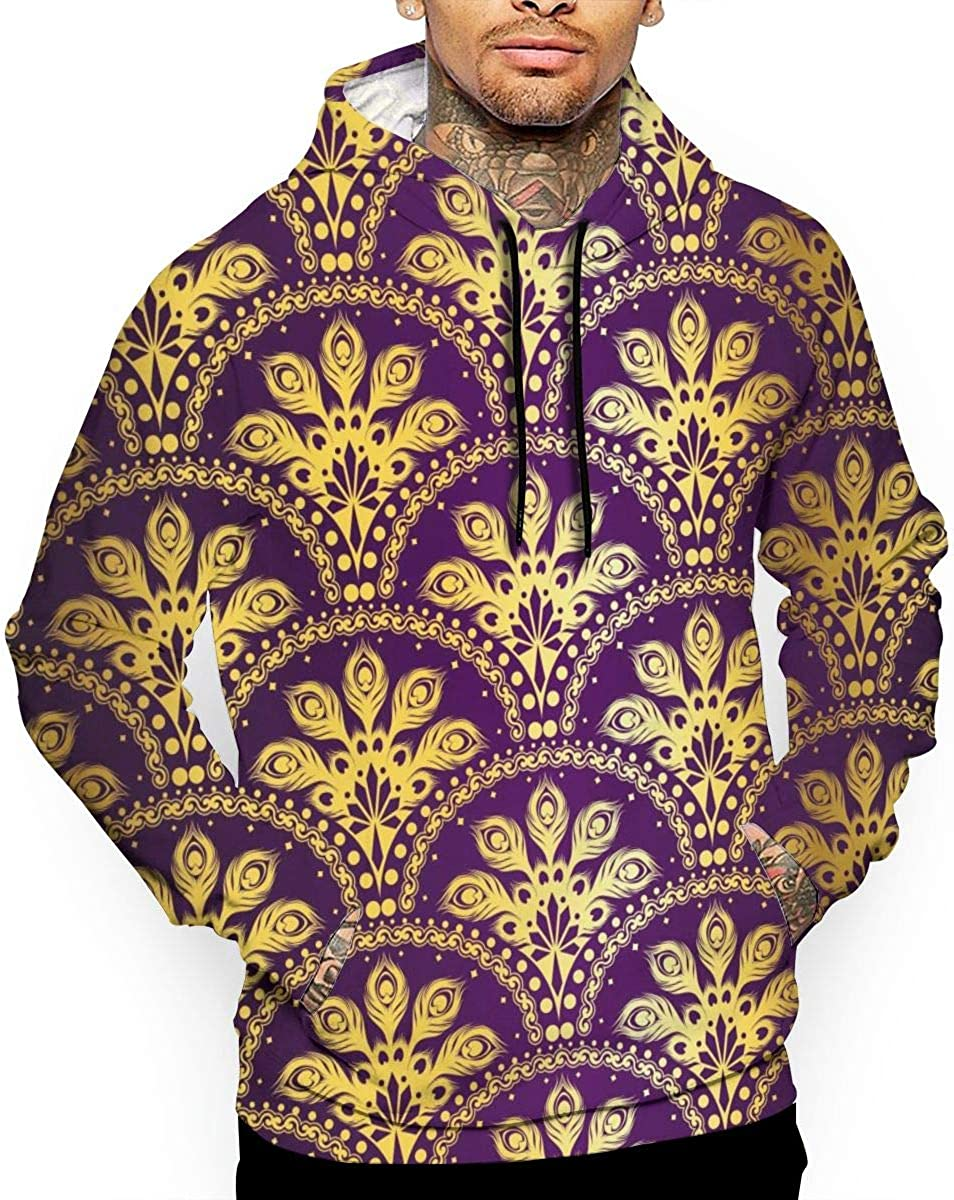 Golden Purple Peacock Mens Front Pouch Pocket Pullover Hoodie Sweatshirt Long Sleeves Pullover Tops