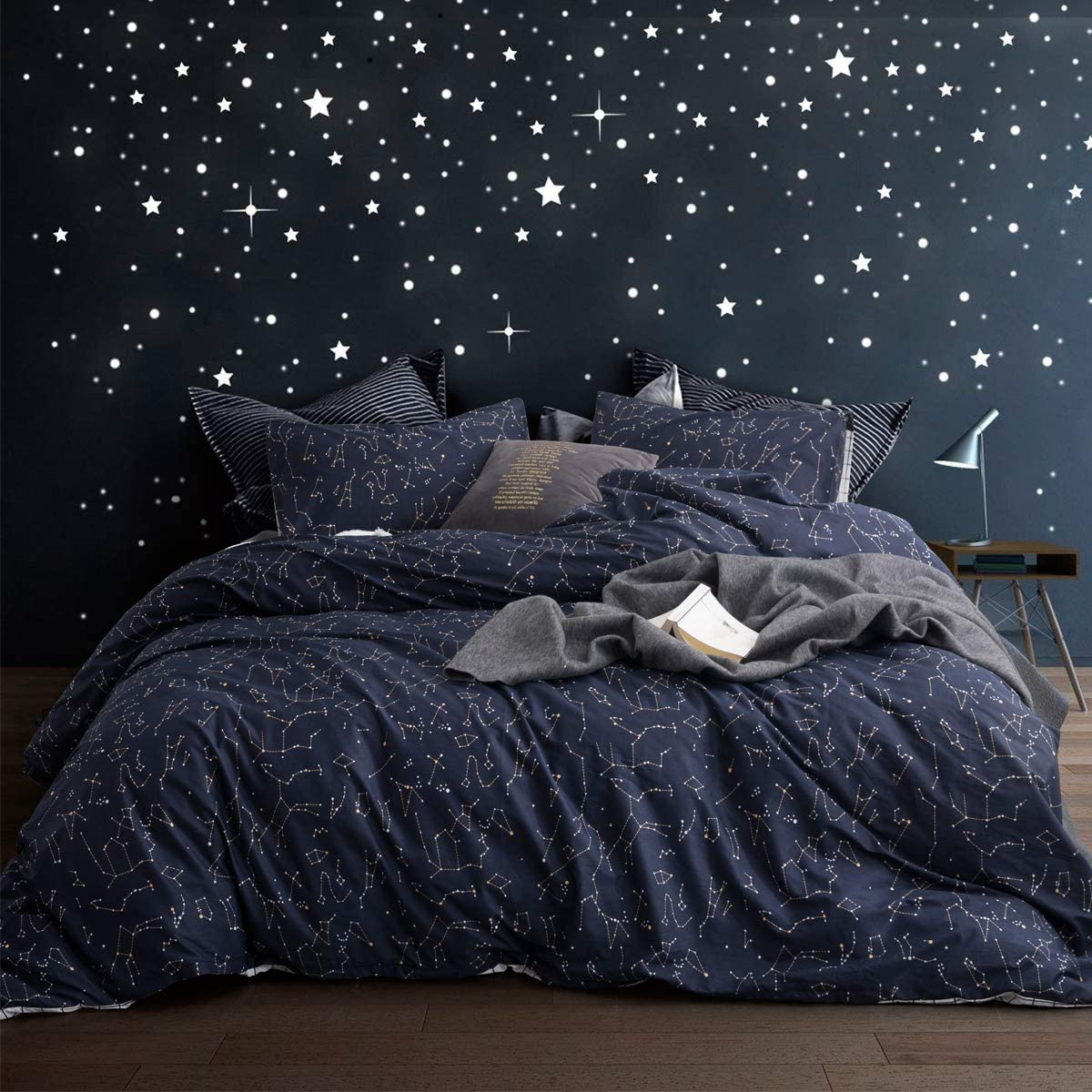 ECOCOTT Duvet Cover Queen, 100% Natural Cotton 1 Duvet Cover +2 Pillowcases Bedding Set,Navy and Cosmic Constellation Reversible Printed Pattern Soft Cozy Breathable and Durable Duvet Cover Set