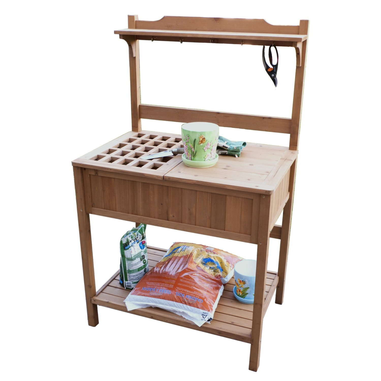Premium Potting Bench Furniture Storage for Patio Deck or Garden in Wooden Outdoor and Contemporary Design