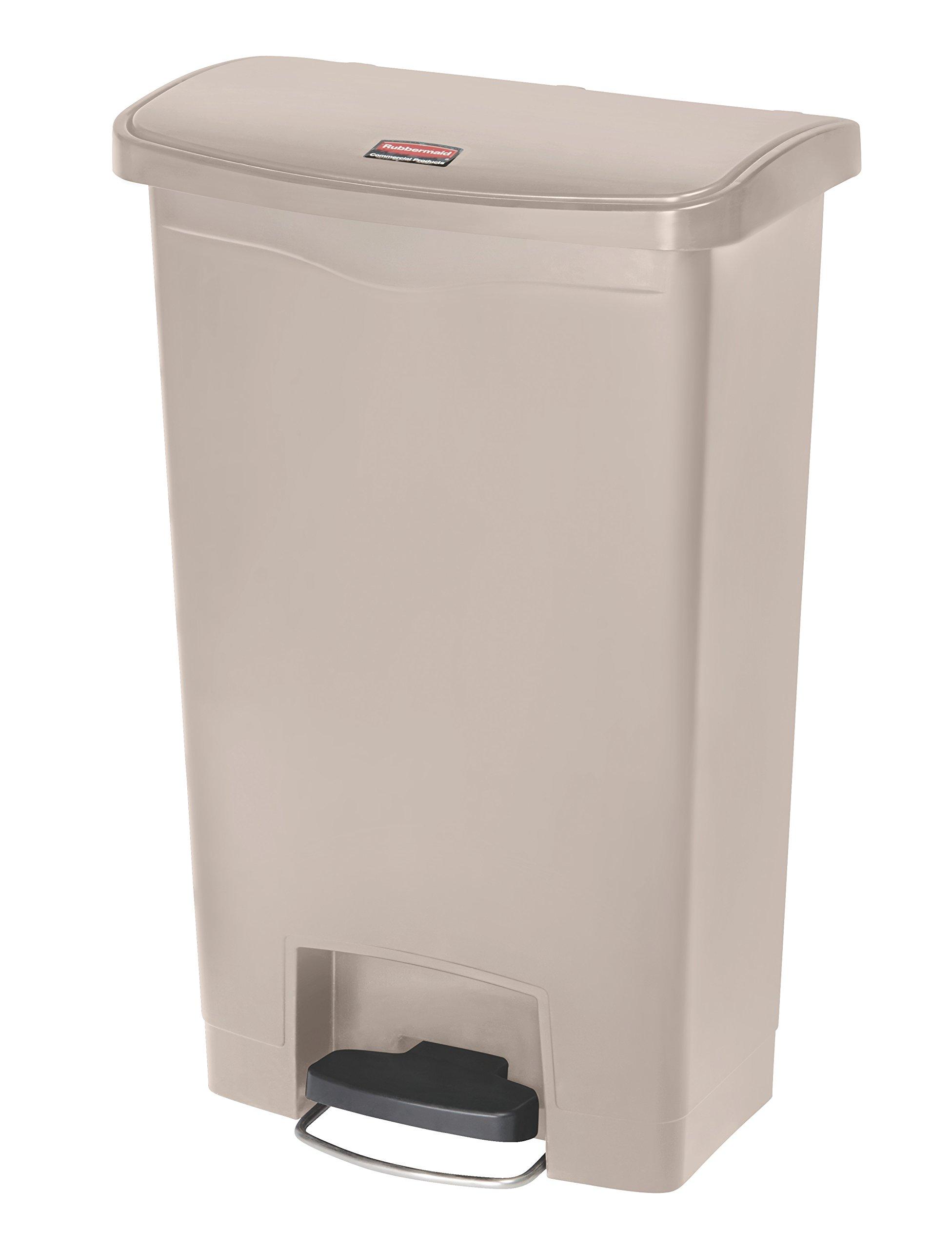 Rubbermaid Commercial Slim Jim Resin Step-On Wastebasket, Front-Step, 13-gallon, Beige (1883458)