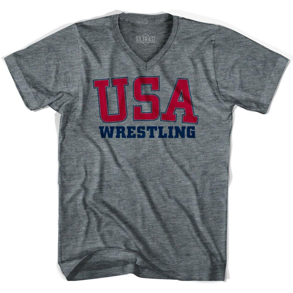 USA Wrestling Ultras V-neck T-shirt, Athletic Grey, Adult Small by Ultras
