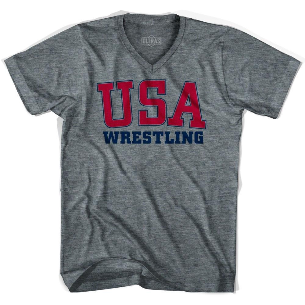 USA Wrestling Ultras V-neck T-shirt, Athletic Grey, Adult Small