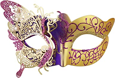 Butterfly Sparkle Mardi Gras Masquerade Half Mask Adjustment-Buy one get 1 free