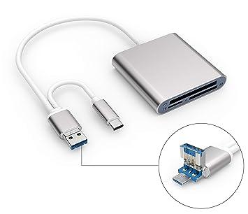 Blizim TF/SD/CF Lector de Tarjetas Memoria con Type-C/Micro USB ...