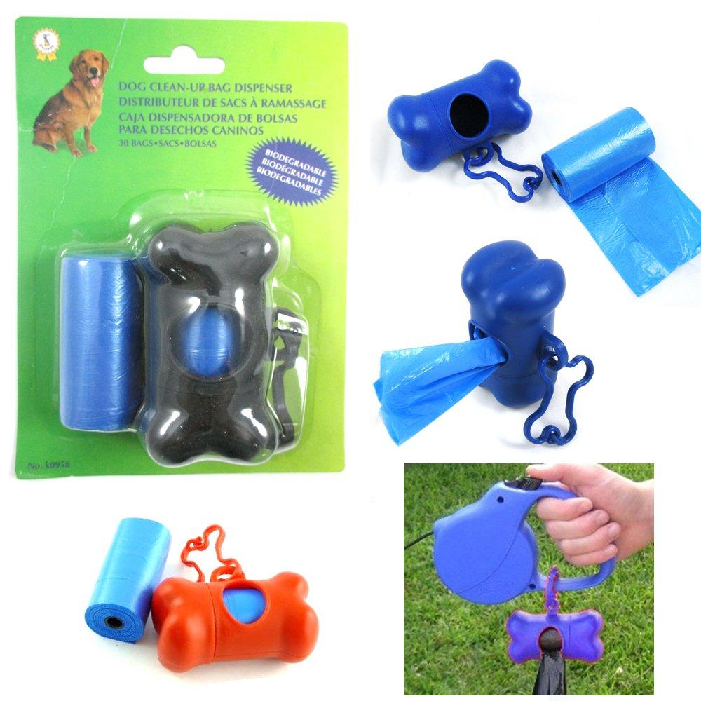 Bone Shape Waste Bag Dispenser Pet Dog Pickup Poop Clean Up Extra Refill Roll!