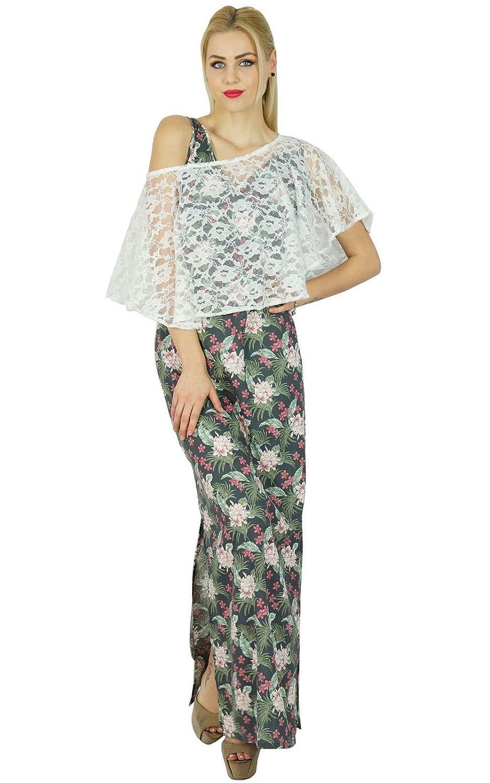 Bimba Women Long Rayon Maxi Slit Dress With Net Poncho Signature Collection Chic Style