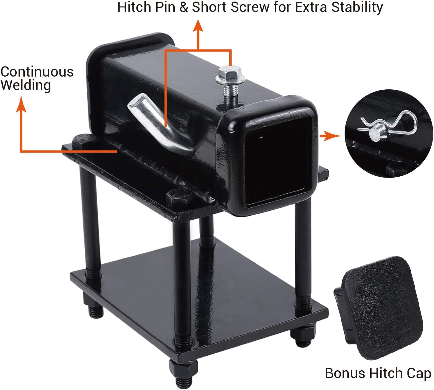 Ohuhu Bolt-on RV Bumper Hitch Receiver Adapter Fits 4-4.5 Beam 2 Receiver with Hitch Pin /& Hitch Cover