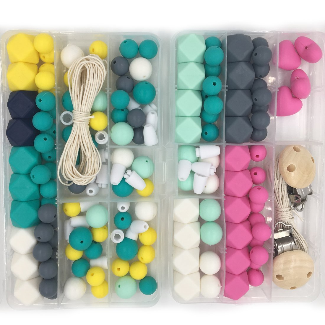 Amyster Silicone Wooden Teething Beads Nursing Necklace DIY Silicone Teething Kit Geometric Hexagon Silicone Wood Beads Teething Necklace Baby Teether Toys (S407)