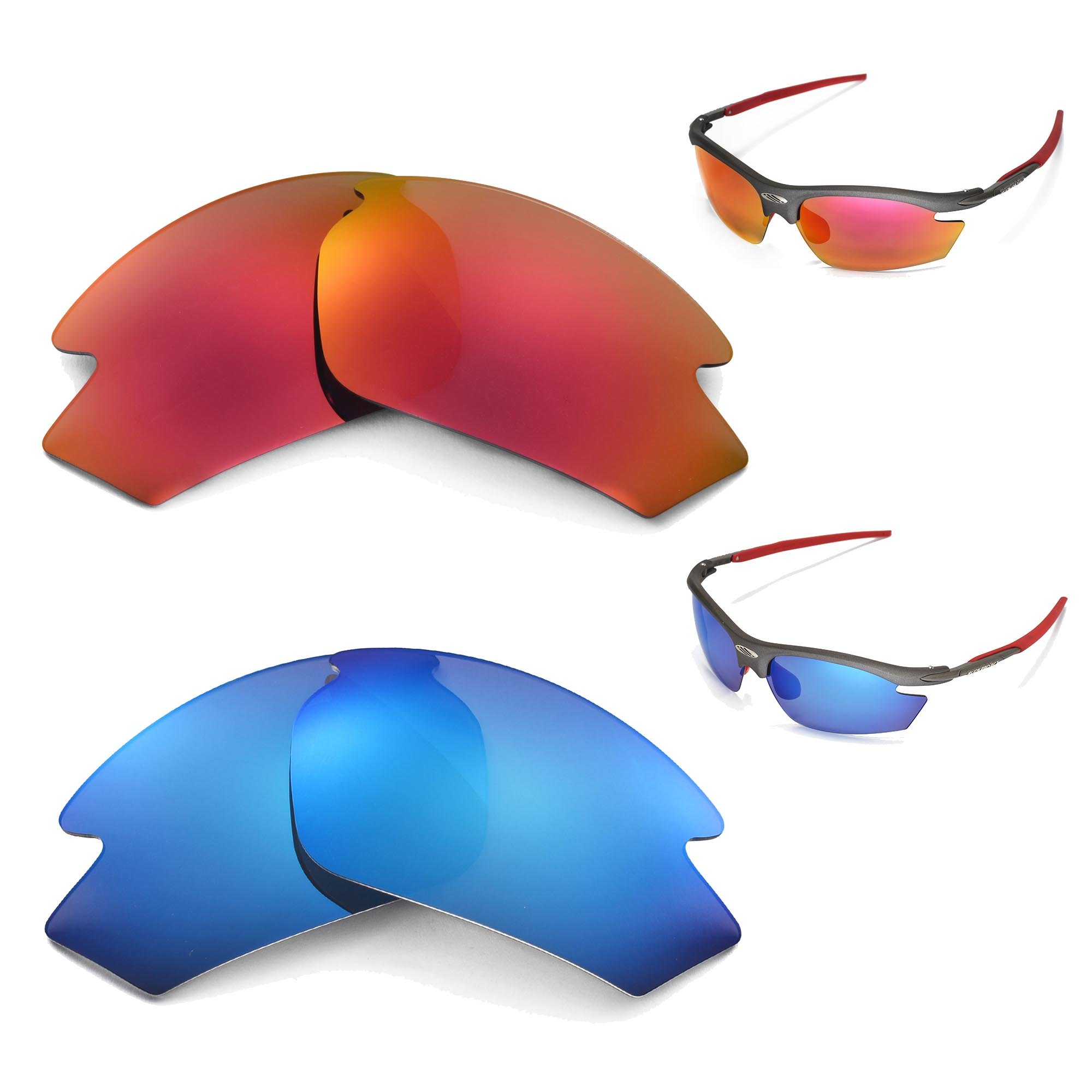 New Walleva Polarized Ice Blue + Fire Red Lenses for Rudy Project Rydon by Walleva