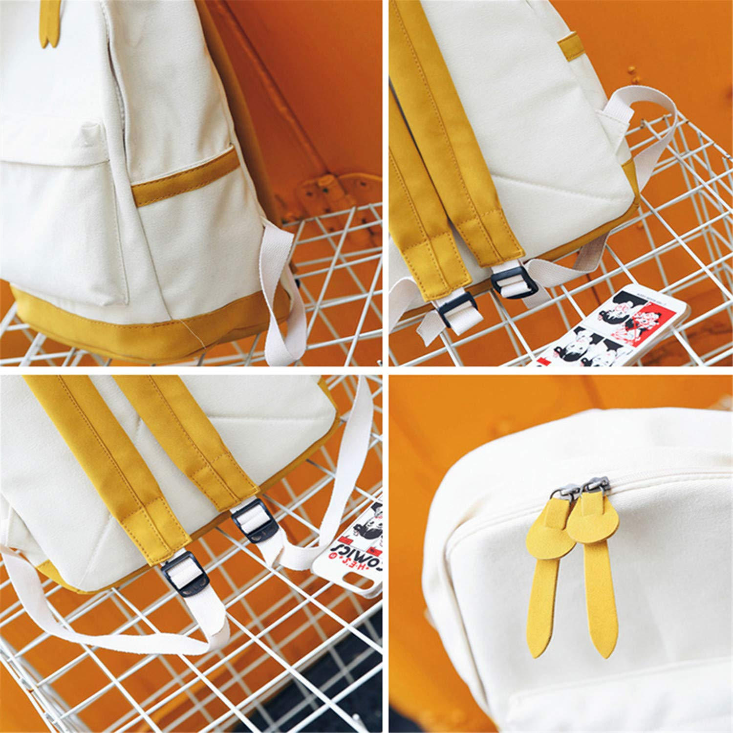Canvas Bag Women Large Capacity Backpack Fashion Panelled Color Travel Backpack Teen Girl Schoolbags Yellow