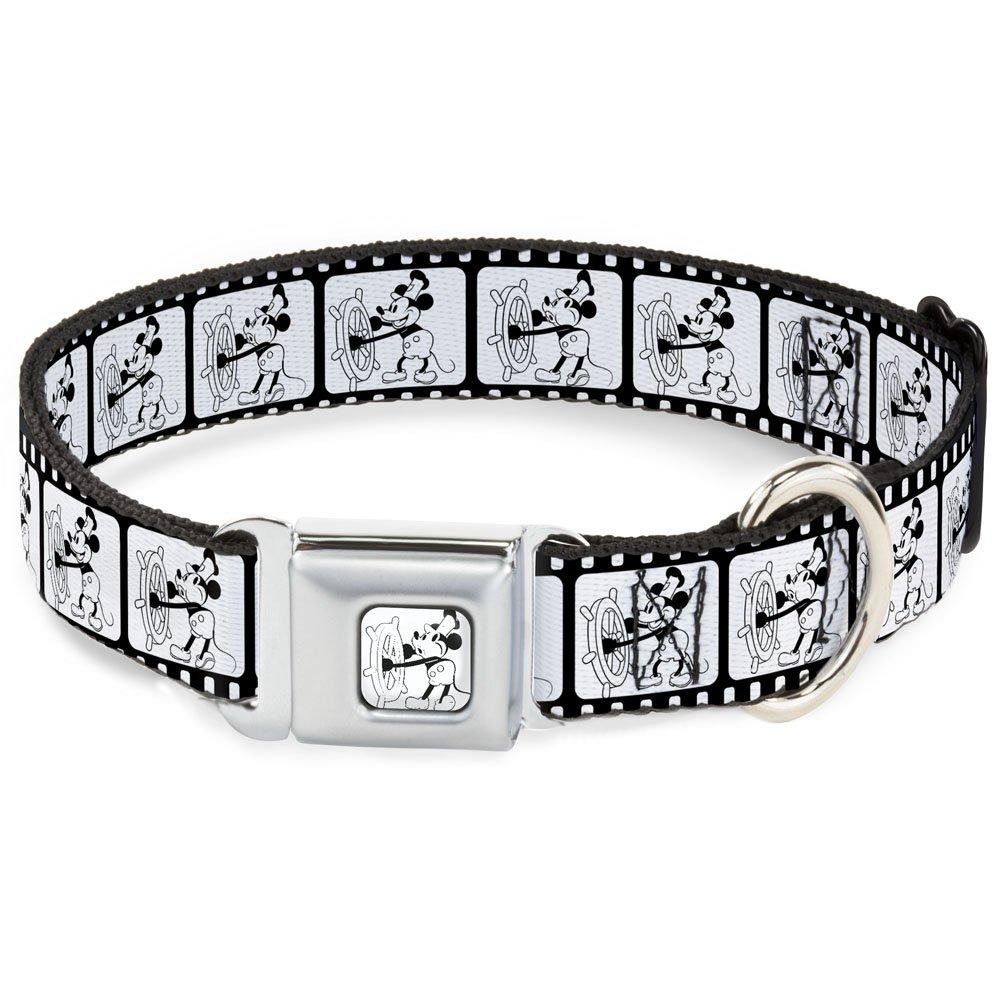 Buckle-Down Seatbelt Buckle Dog Collar Steamboat Willie Scenes Film Strip White Black 1  Wide Fits 15-26  Neck Large