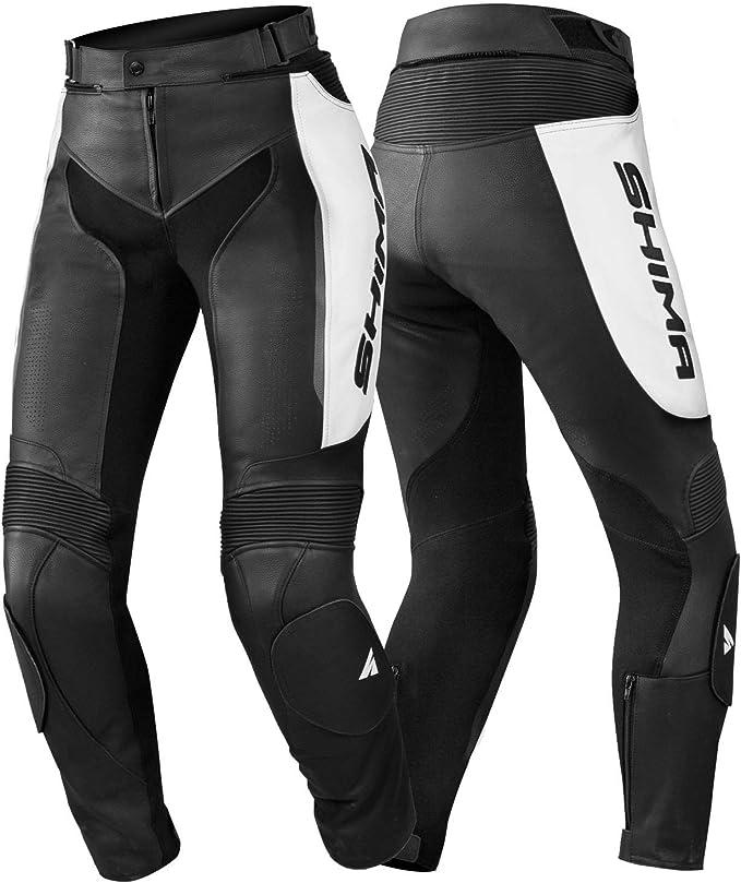 Taille 32 SHIMA Miura Trousers White 32-42, Noir//Blanc v/êtements de Moto pour Femmes Pantalon de Sport en Cuir pour Femme