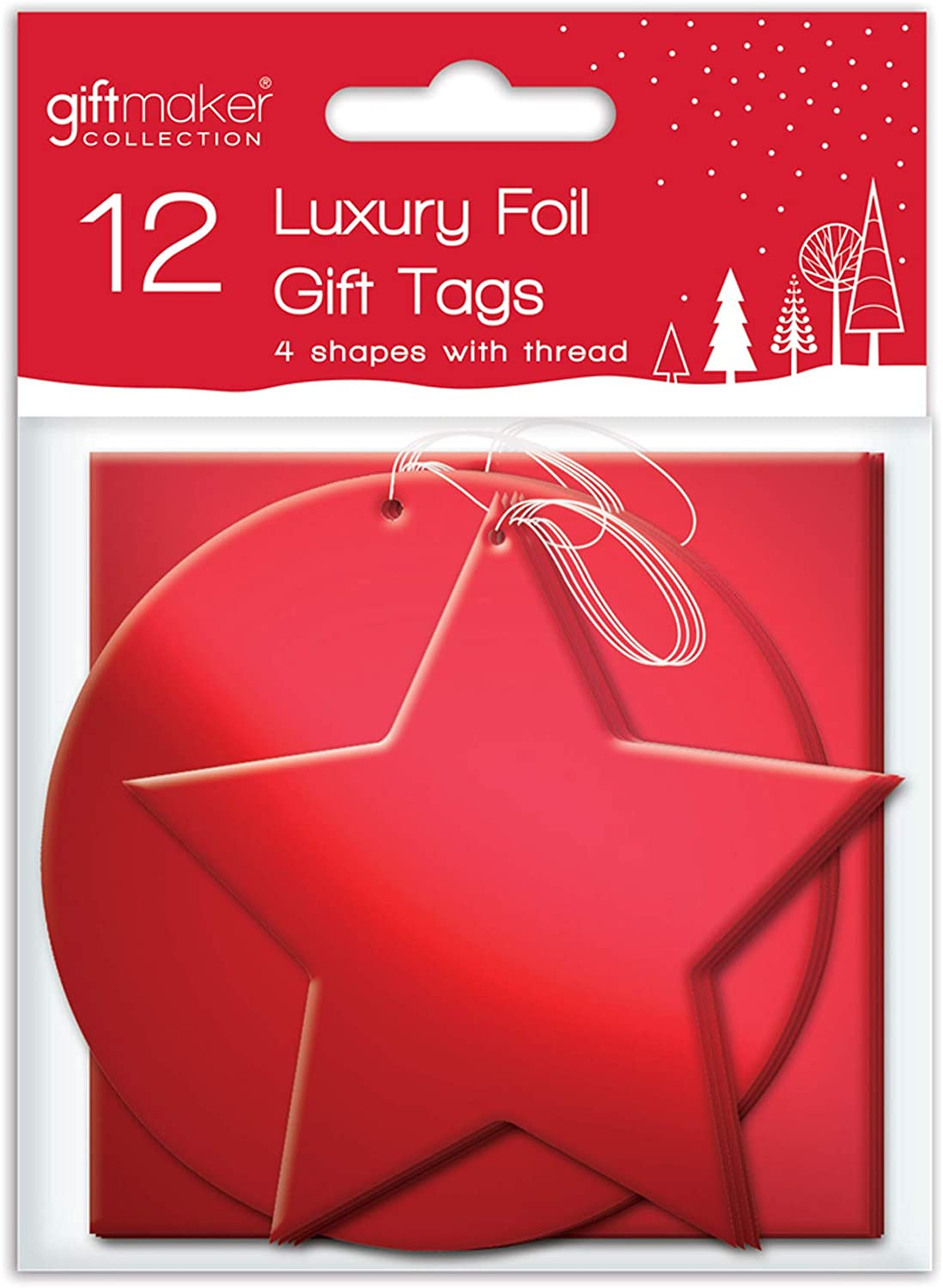 The Home Fusion Company 12 x Foil Christmas Xmas Present Shaped Gift Tags in Red Silver or Gold Gold