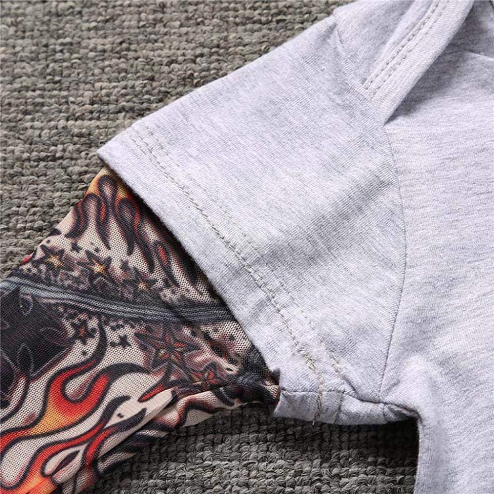 Tonsee Neugeborenes Baby Tattoo /Ärmel Overall Langarm Strampler Jungen Coole Gedruckt Langarm T-Shirt Bequem Cotton Oberteile Patchwork Langarmshirts Mode Herbst Body Babykleidung