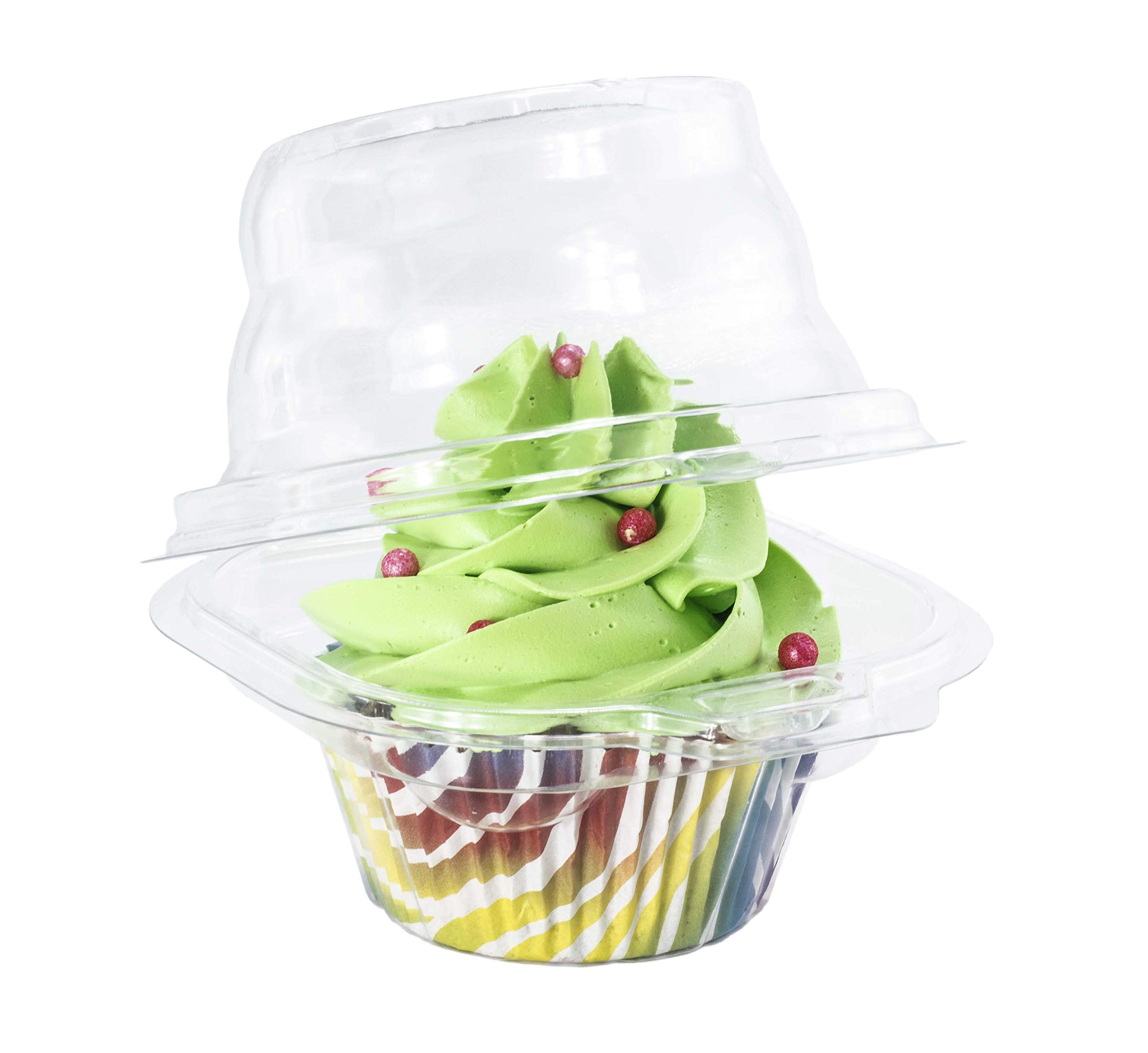 Katgely Individual Cupcake Container - Single Compartment Cupcake Carrier Holder Box - Stackable - Deep Dome - Clear Plastic - BPA-Free- Pack of 50
