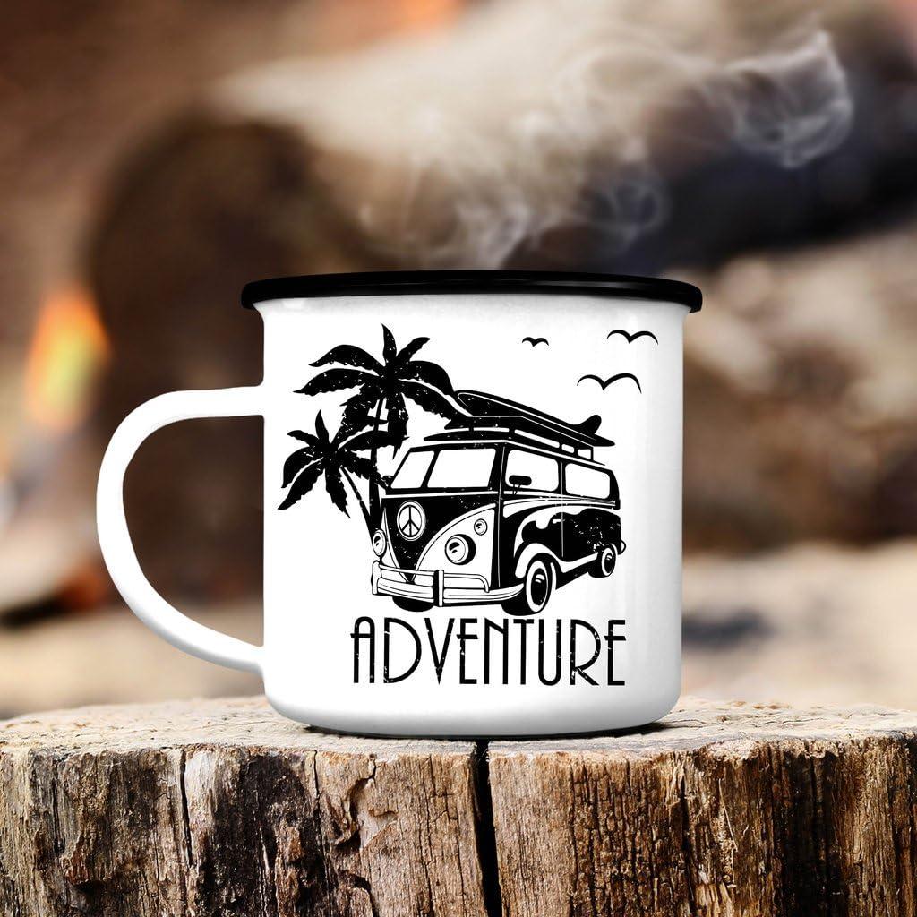 Campingbecher Bulli mit Palmen CB318 Outdoor Emaille Becher Adventure VW Bus