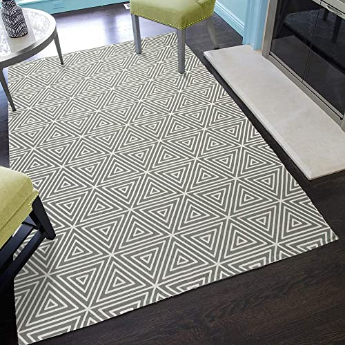 Seavish Cotton Printed Rug, 3×5 Feet Decorative Grey Triangle Kilim Rug, Hand Woven Rag Rug Thin Mat Carpet, Modern Area Rugs for Floor Bedroom Living Room Laundry Room Bedroom Dorm