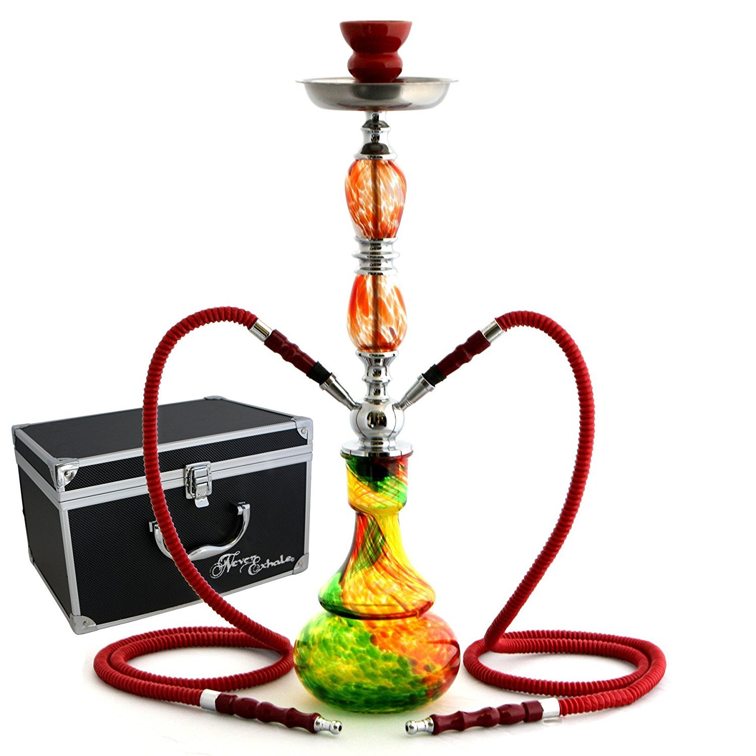GSTAR 22'' 2 Hose Hookah Complete Set with Optional Carrying Case - Swirl Glass Vase - (Rasta Red w/ Case)