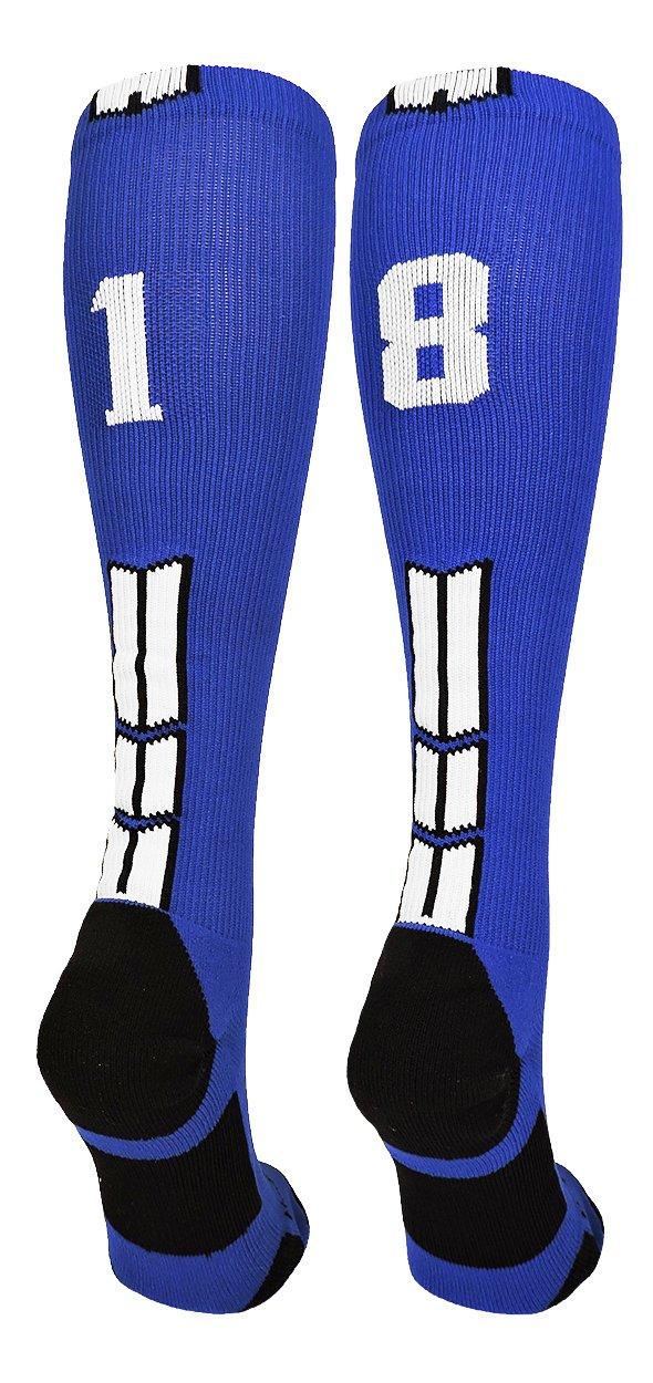 MadSportsStuffロイヤル/ホワイトPlayer IDカスタムover the calf Socks数(ペア) B07B7K3SR9#18 Small