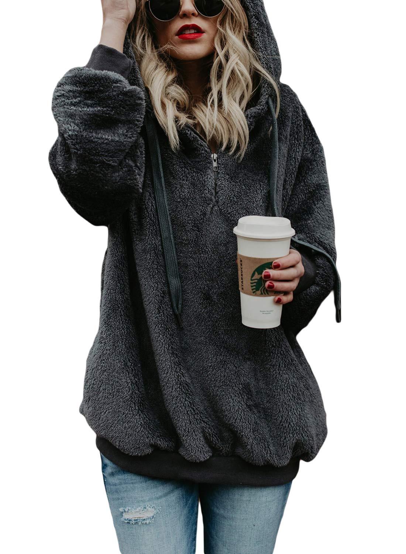Acelitt Womens Quarter Zip Neck Oversize Solid Thick Fleece Fuzzy Hoodies Hooded Top Outwear with Pockets Dark Grey Medium