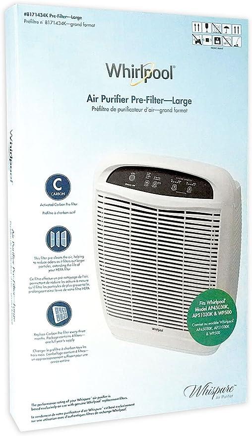 Amazon.com: Whirlpool 8171434K (8171434), 4-Pack (Large), Air Purifier  Active Carbon Pre-Filters, Fits Air Purifier Model AP51030K, AP45030K,  APR45130L, WP500, 18x16.5 inch: Home & Kitchen