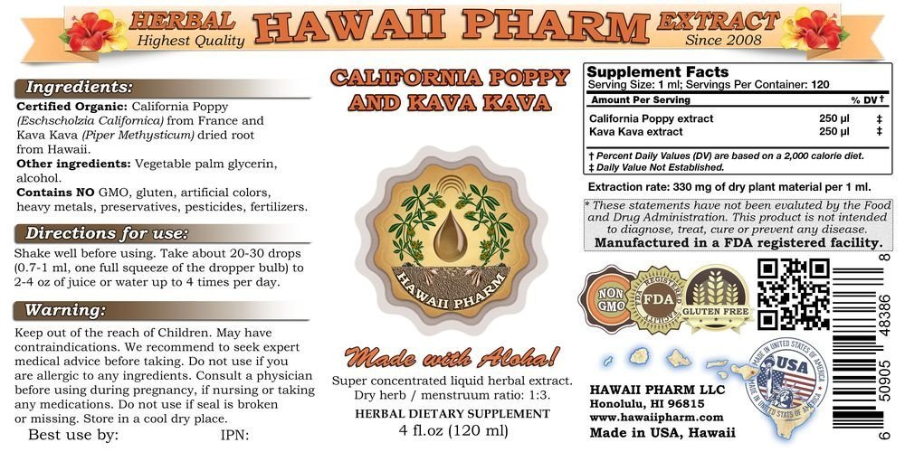 California Poppy and Kava Kava Liquid Extract, Organic California Poppy (Eschscholzia Californica) and Kava Kava (Piper Methysticum) Tincture Supplement 32 oz Unfiltered by HawaiiPharm (Image #2)